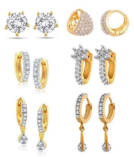 Youbella Combo Of Trendy American Diamond Earrings For Women