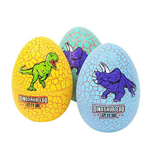 Toyvian 3pcs uova di dinosauro colorate da cova giocattolo uovo di pasqua uova di cova da cova per bambini (modello casuale)