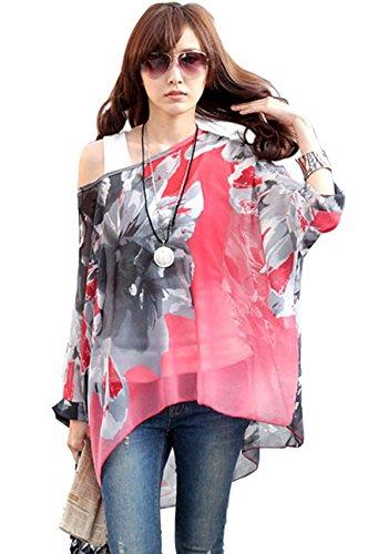Oksakady camicetta donna estate -blusa in chiffon taglie forti maglia elegante e casual con stampa floreale