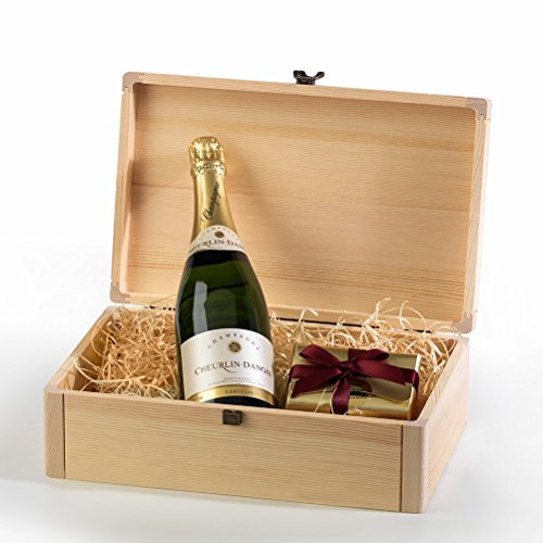Hay Hampers Champagne and Chocolates Hamper in Wood Box