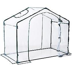 Outsunny Serre de Jardin Balcon terrasse Serre pour tomates 1,8L x 1,05l x 1,65H m Acier PVC imperméable Anti-UV Transparent Vert