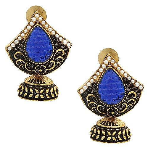 Jhumka   Jhumki   Bollywood Design Brass Golden Earring   Black And...