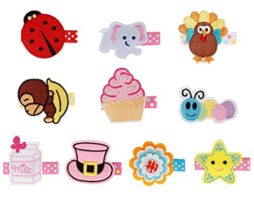 bundle-monster-stoff-haarclips-fr-baby-mdchen-stickerei-design-10-stck-klein-set-2-liebenswerter-eng