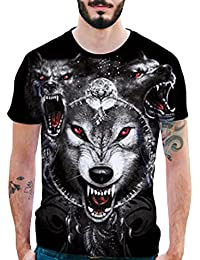 Camisas de Hombre Manga Corta,Hombres de la personalidad de impresión en 3D lobos casual Slim manga corta camisa Tops blusa…