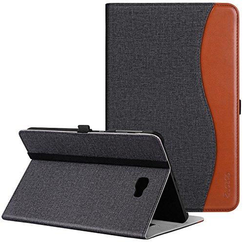 Ztotop Hülle für Samsung Galaxy Tab A 10,1,für Modell SM-T580/T585 (Keine S Pen-Version), Leder Geschäftshülle mit Ständer,Kartensteckplatz,Auto Schlaf/Aufwach Funktion,Mehrfachwinkel,Denim Schwarz
