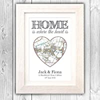 New home gift/House moving present/Personalised OS map house warming/First 1st home gift VA056