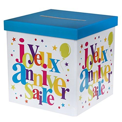 Santex 4761-99 Tirelire Festif Motif Joyeux Anniversaire Carton Multicolore 30 x 30 x 3,5 cm