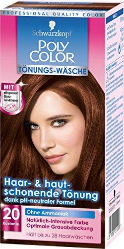 Schwarzkopf Poly Color Tönungs-Wäsche, 20 Edelkastanie Stufe 2, , 3er Pack (3 x 1 Stück)