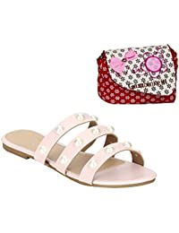 Estatos PU Pink Open Toe Multi Strap Casual Flats With Red Printed Sling Bag