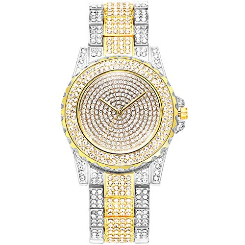 ManChDa Damen Armbanduhr Volle Kristall Diamanten Bling Bling Edelstahl Uhren Damen Quarzuhr für Frauen Klassische Mode Romantische Armbanduhr(Gold)