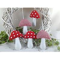 5 Pilze in rot/weiß