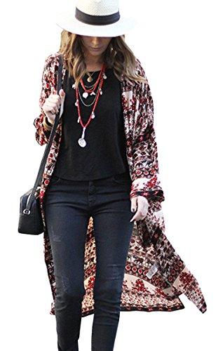 Hibluco Damen Florale Kimono Cardigan Strand Chiffon Bluse Tops Bikini Cover Up (Small, K49) (Strand Bikini)