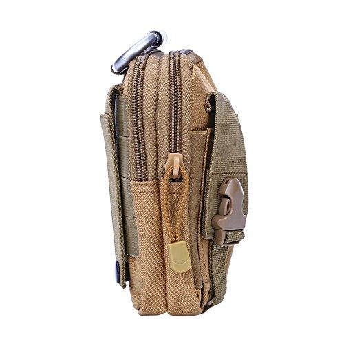 Shopper Joy Tattico Borsa EDC Borsa Molle Hip con Carabiner in alluminio 1000D Materiale per escursioni all'aperto Trekking Camping Travel - Jungle Digital marrone