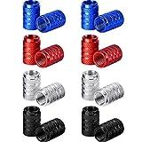 16 Stück Reifen Ventilkappen Aluminium Auto Rad Staubdicht Cap (Schwarz, Silber, Rot und Blau)
