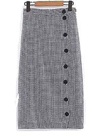 8cfb7ed0ed Botón Elegante de Las Mujeres Faldas de Pata de Gallo sobre Falda de  Longitud Keen Faldas Midi de tartán (Color   Negro