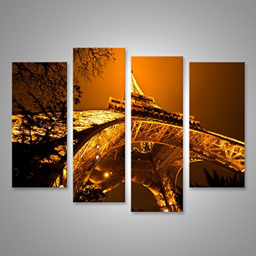 Quadro moderno Torre Eiffel illuminato di notte Parigi Stampa su tela - Quadro x poltrone salotto cucina mobili ufficio casa - fotografica formato