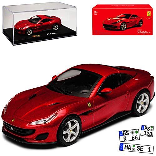 Ferrari Portofino Coupe Rot Metallic Ab 2018 mit Sockel und Vitrine 1/43 Bburago Modell Auto - Metallic Sockel