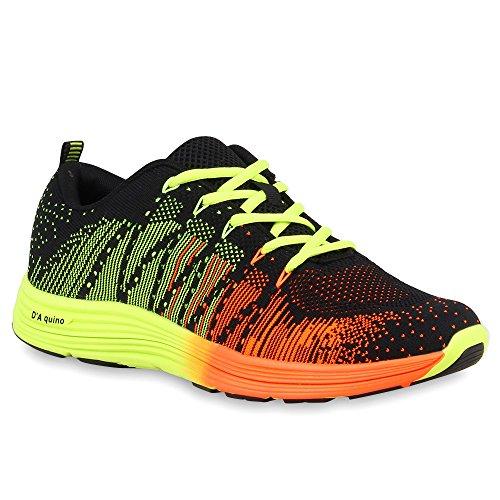 Herren Laufschuhe Sneakers Runners Sportschuhe Lack Schwarz Neonorange Amares