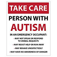 Landing Designs LARGE TAKE CARE- Person with AUTISM, Emergency/Safety car van bike sticker decal