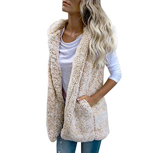 SHOBDW Mujeres invierno cálido chaleco piel sintética zip hasta Sherpa chaqueta sudadera con capucha ropa casual abrigo (Blanco, XL)