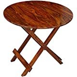 Custom Decor Alvira Round Folding Table Coffee Table Patio Garden and Outdoor Furniture - Dark Mohagny