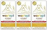 WAXEPIL *Cherry Oil* Épilation CORPS et JAMBES Peaux Sensible Bandes de Cire Froide Dépilatoire - Lot de 3x20 Bandes (20 bardes €3.49)