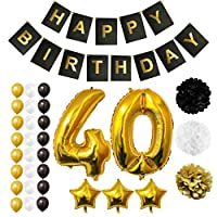 BELLE VOUS Happy Birthday Party Balloons, Supplies & Decorations All-in-One Set - Large 40 Years Foil Balloon - Latex Balloon Decoration - Decor Suitable for All Adults (Age 40)