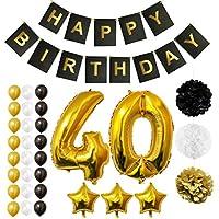 BELLE VOUS Globos Cumpleaños Happy Birthday, Suministros y Decoración Globo Grande de Aluminio - Decoración Globos De Látex Dorado, Blanco y Negro - Apto para Todos los Adultos (Age 40)