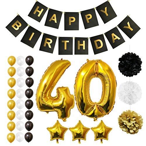 BELLE VOUS 32 Pcs Ballons Happy Birthday Anniversaire, Fournitures & Décorations Set Tout-en-Un - Gros Ballon Aluminium - Ballon de Décoration en Latex Or, Blanc & Noir (Age 40)