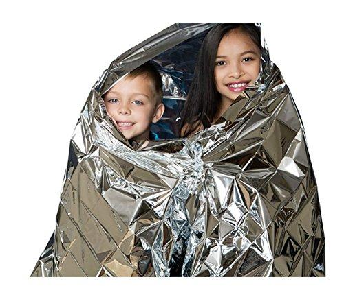 hossty (10Stück) 129,5x 210,8cm Große Notfall Thermodecke Reflektierende Material Speichert Wärme leicht wasserdicht Überleben Decke für Camping Wandern Disaster (Sport-viewing-zelt)