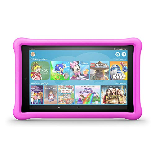 Fire HD 10 Kids Edition-Tablet, 25,65 cm (10,1 Zoll) 1080p Full HD-Display, 32 GB, pinke kindgerechte Hülle Vga-kamera Video