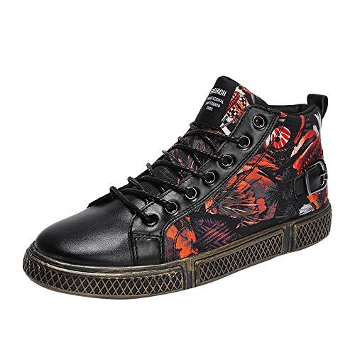 ABsoar Schuhe Herren Sneaker Mode Schnürschuhe Männer Rutschfeste Fußballschuhe Casual Laufschuhe Flache Hohe Hilfe Sportschuh Butterfly Print Sneakers