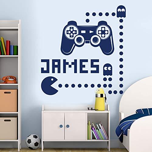 Personalisierte Jungen Name Spiel Wandaufkleber Vinyl Kinderzimmer Dekor Gaming Poster Playstation Schlafzimmer Game Controller Aufkleber 114 * 120 cm (Playstation 4-draht-controller)