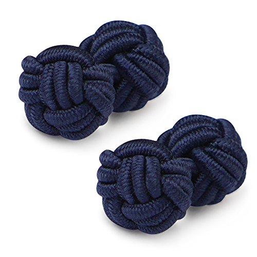 Honey Bear 1 Paar Herren/Damen Seide Stoff Knoten Seidenknoten Manschettenknöpfe für Hemd /Kleid zum (Navy blau 2)