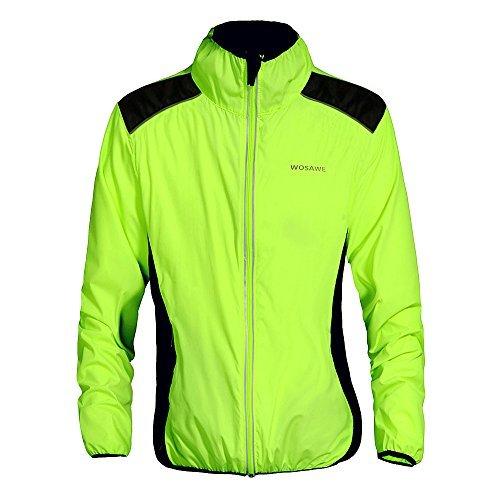 WOSAWE Fahrradjacke für Herren Damen wasserdichte Ultraleichte Sportbekleidung mit Reflektierendem für Radfahren, Laufen, Wandern, Bergsteigen L