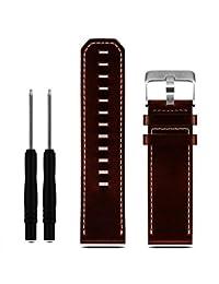 Malloom Correa de cuero de lujo de reemplazo banda de reloj con las herramientas para Garmin Fenix 3