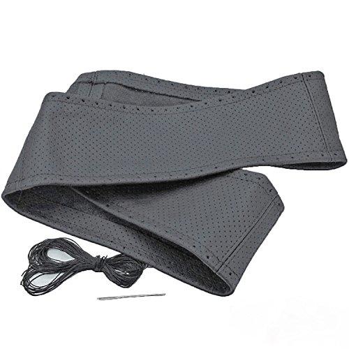 Lenkrad Bezug Schoner echt Leder perforiert dunkel grau zum Schnüren 37-39 cm