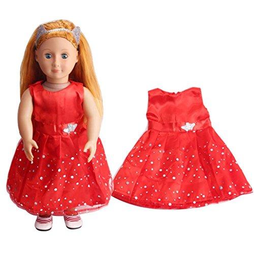 American Puppenkleider 45,7cm für Mädchen, American Girl Puppen Kleidung Kleidung, und Zubehör vneirw, rot (American Doll Gymnastik-outfit)