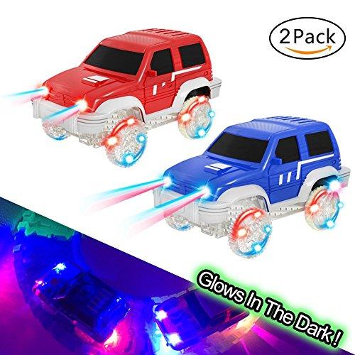 MIGE Spielzeug Auto Rennauto LED Licht Im Dunkeln Leuchten Zubehör Kompatibel mit den Meisten Auto Rennen Magic Tracks,Ideal Für Childs Geschenke (Rc Car Aufkleber-kit)