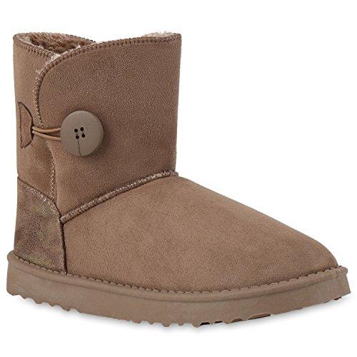 Warm Gefütterte Damen Stiefeletten Schlupfstiefel Boots Khaki