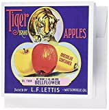 3dRose 8 x 8 x 0.25 Inches Tiger Brand Apples with Stalking Tiger and Red and Yellow Apples Greeting Cards, Set of 6 (gc_171136_1)