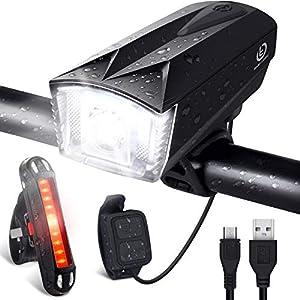 OMERIL - Luces Bicicleta Delantera y Trasera Linterna Bicicleta Recargable, IP65 Resistente con 6 Modes, Bocina y Luz para Carretera y Montaña, Control Remoto