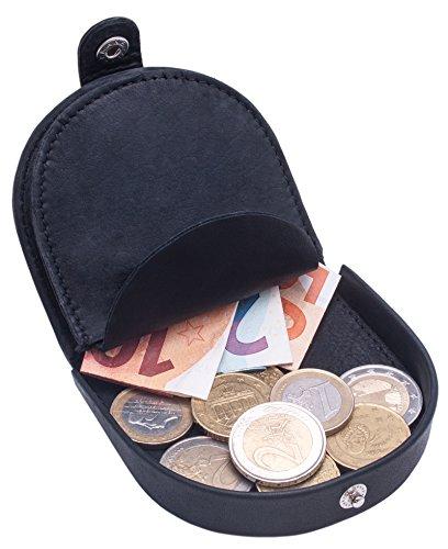 Benthill Echt-Leder Münzbörse - Wiener-Schachtel | Geldbörse mit Kleingeldschütte - Schüttelbörse - Kleingeldbörse | Leder Minigeldbörse - Münzen Portmonee (Schwarz)