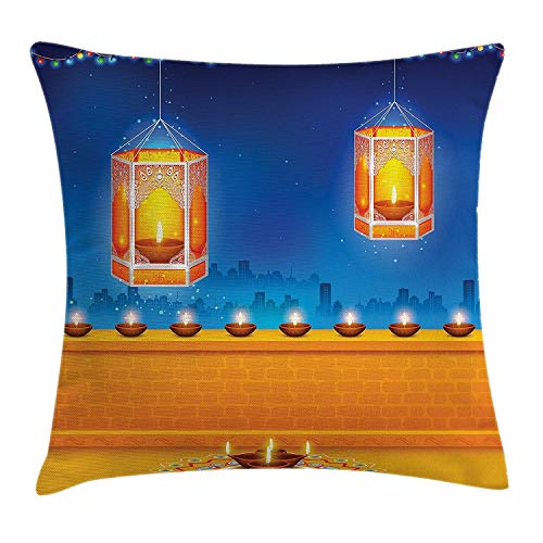 apnzll Diwali Decor Throw Pillow Cushion Cover, Modern Graphic Diwali Festive Celebration Themed Candles on Paisley Backdrop Print, Decorative Square Accent Pillow Case, Orange 18