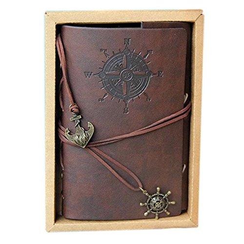 Cuaderno 130 x 185 x 20mm Vintage Cuadernos de Cuero PU Diseño de Pirata Folleto Diario Notas Notebook Libreta Mano Escrito Viaje (Marrón Oscuro) Cobee (Marrón oscuro)
