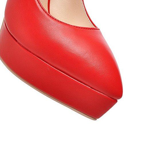 VogueZone009 Femme Pointu Boucle Pu Cuir Couleur Unie à Talon Haut Chaussures Légeres Rouge