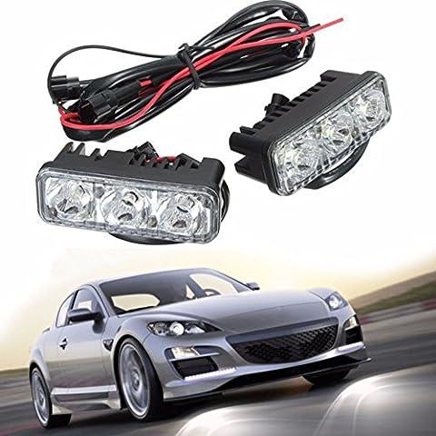 Mfpower 2 pcs Blanc Lumineux 3 LED Lumière de jour Running Light Driving Lamp Kit pour voiture/camion