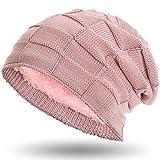 Compagno warm gefütterte Beanie Wintermütze Flechtmuster unifarben oder meliert mit weichem Fleece-Futter Mütze, Farbe:Rose meliert