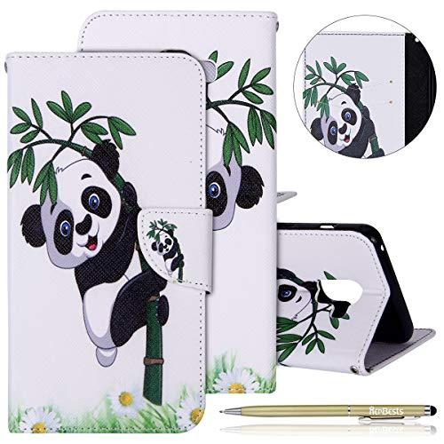 Handyhülle Samsung Galaxy A8 Plus 2018 Flip Case Hülle Ledertasche Lederhülle Schutzhülle Klapphülle Leder Handytasche Dünn Handy Schutzhülle Tasche Cover Geldbörse Etui,Bambus Panda