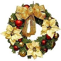 Hermosa decoración navideña La Navidad de la Guirnalda del Nudo del Arco Que cuelga la Puerta